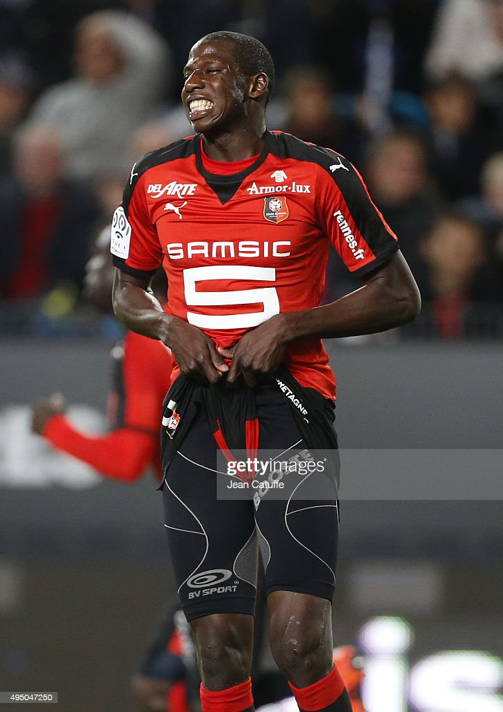 Abdoulaye Doucoure of Rennes reacts during the French Ligue 1 match between Stade Rennais (Rennes) and Paris Saint-Germain at Roazhon Park stadium on October 30, 2015 in Rennes, France.