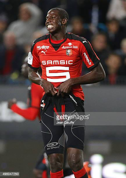 Abdoulaye Doucoure of Rennes reacts during the French Ligue 1 match between Stade Rennais and Paris SaintGermain at Roazhon Park stadium on October...