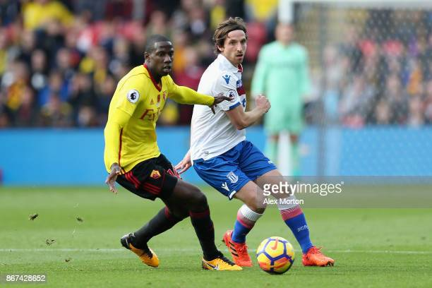 Abdoulaye Doucoure of Watford and Joe Allen of Stoke City watch the ball during the Premier League match between Watford and Stoke City at Vicarage...