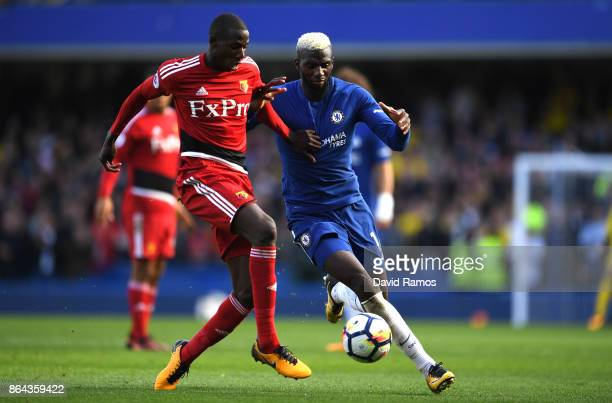 Abdoulaye Doucoure of Watford and Tiemoue Bakayoko of Chelsea during the Premier League match between Chelsea and Watford at Stamford Bridge on...