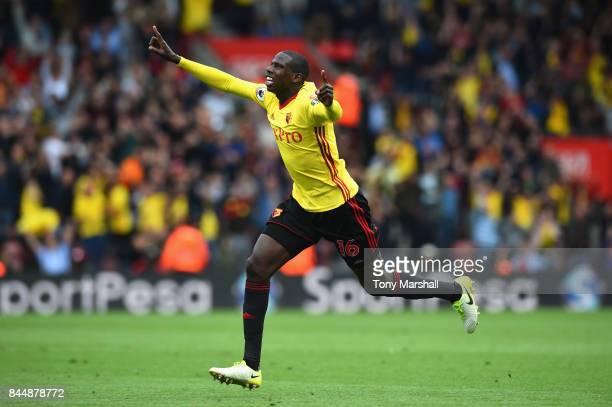 Abdoulaye Doucoure of Watford celebrates after scoring his sides first goal during the Premier League match between Southampton and Watford at St...