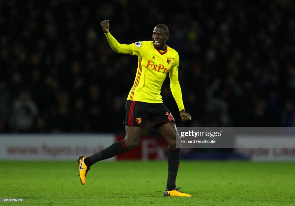 Abdoulaye Doucoure of Watford celebrates scoring the 2nd Watford goal during the Premier League match between Watford and Manchester United at Vicarage Road on November 28, 2017 in Watford, England.