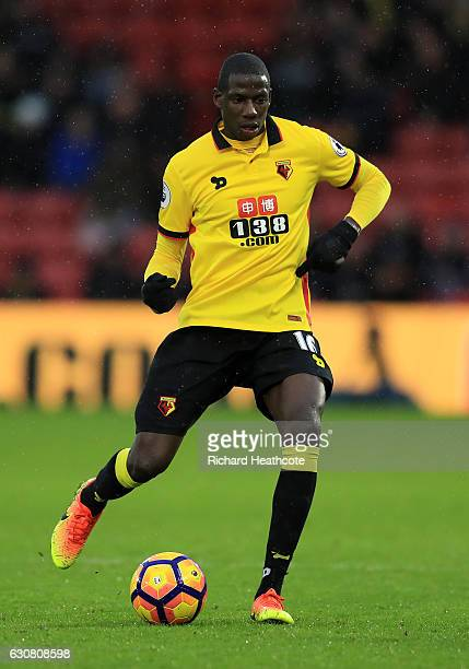 Abdoulaye Doucoure of Watford in action during the Premier League match between Watford and Tottenham Hotspur at Vicarage Road on January 1 2017 in...