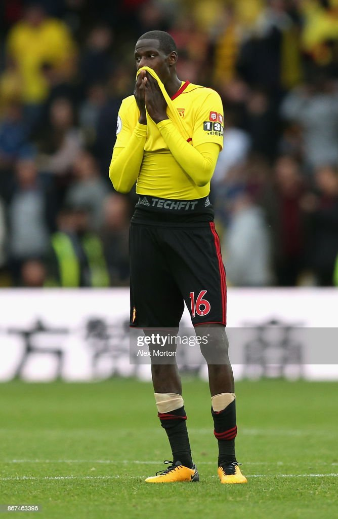 Abdoulaye Doucoure of Watford reacts during the Premier League match between Watford and Stoke City at Vicarage Road on October 28, 2017 in Watford, England.