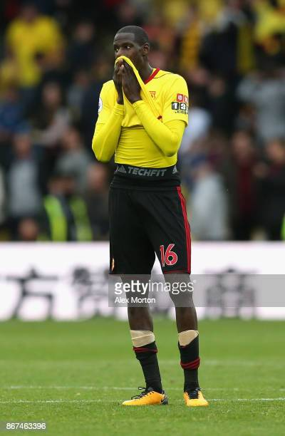 Abdoulaye Doucoure of Watford reacts during the Premier League match between Watford and Stoke City at Vicarage Road on October 28 2017 in Watford...