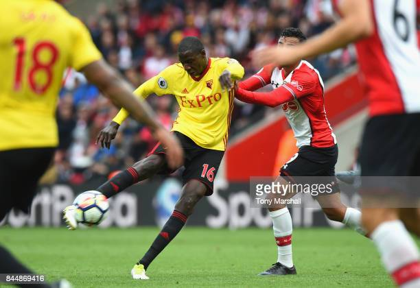 Abdoulaye Doucoure of Watford scores his sides first goal during the Premier League match between Southampton and Watford at St Mary's Stadium on...
