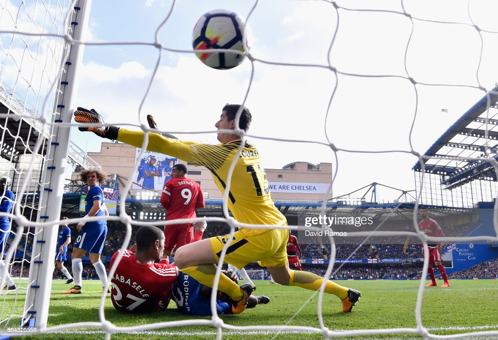 Abdoulaye Doucoure of Watford (Not pictured) scores his sides first goal past Thibaut Courtois of Chelsea during the Premier League match between Chelsea and Watford at Stamford Bridge on October 21, 2017 in London, England.