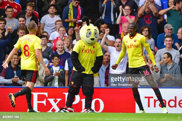 Abdoulaye Doucoure ofWatford celebrates scoring his sides second goal with Tom Cleverley of Watford during the Premier League match between Watford...