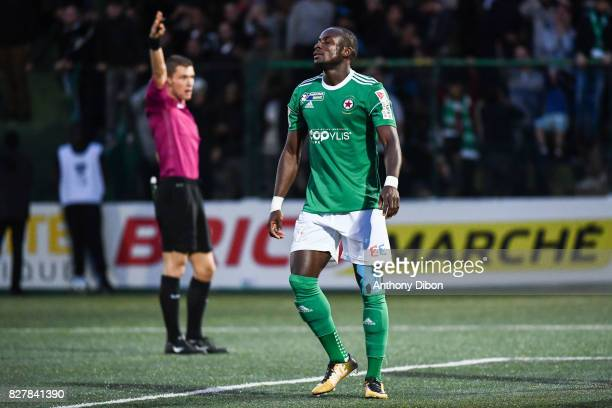 Abdoulaye Sane of Red Star looks dejected during the first round of French League Cup match between Red Star and AJ Auxerre on August 8 2017 in...