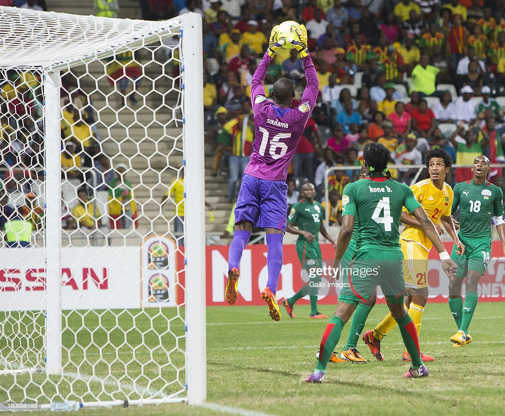 Abdoulaye Soulama, Goalkeeper of Burkina Faso, saves during the 2013 African Cup of Nations match between Burkina Faso and Ethiopia from Mbombela Stadium on January 25, 2013 in Nelspruit, South Africa.