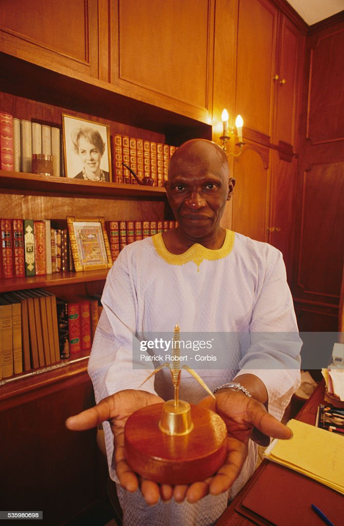 Abdoulaye Wade, leader of the opposition party known as the Senegalese Democratic Party, in his office. He was later elected President of Senegal in April 2000.