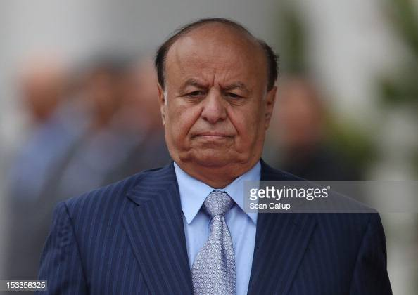 Abdrabuh Mansur Hadi President of the Republic of Yemen arrives at the Chancellery to meet with German Chancellor Angela Merkel on October 4 2012 in...