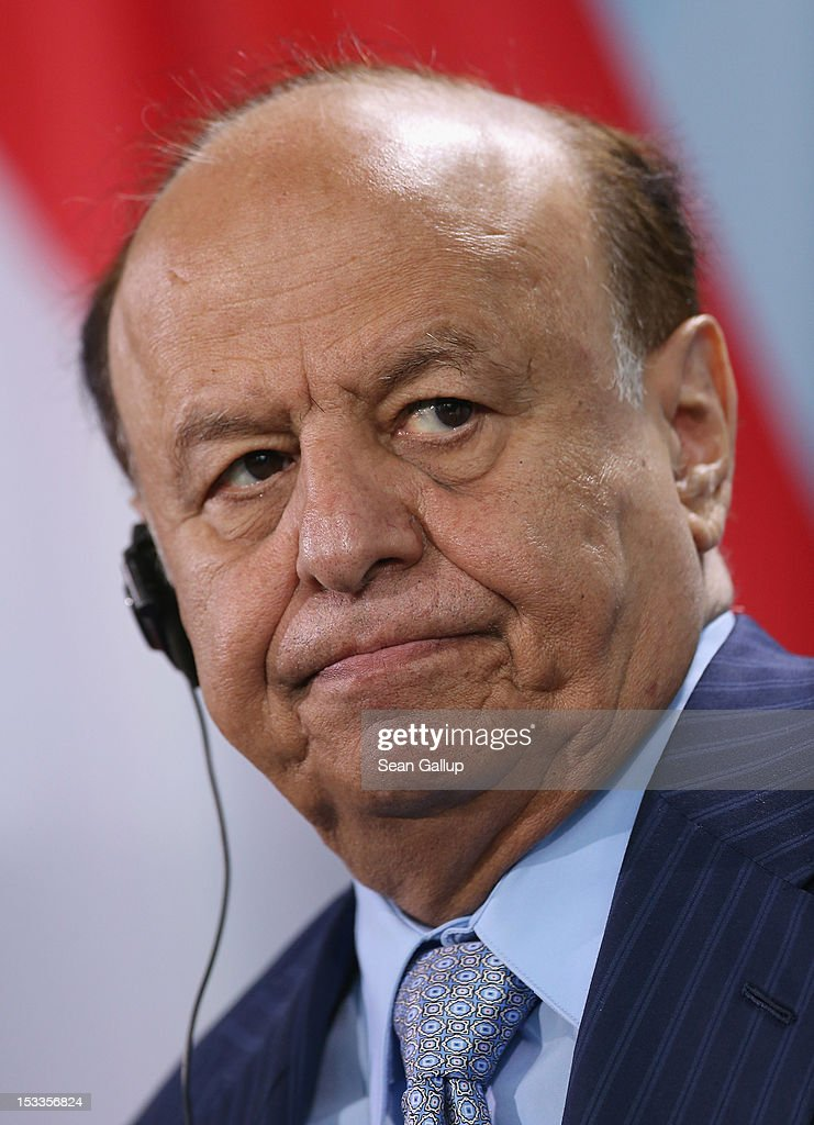 Abdrabuh Mansur Hadi, President of the Republic of Yemen, speaks with German Chancellor Angela Merkel (not pictured) to the media following talks at the Chancellery on October 4, 2012 in Berlin, Germany. President Hadi succeeds former Yemeni President Ali Abdullah Saleh following bloody uprisings in Yemen months ago.