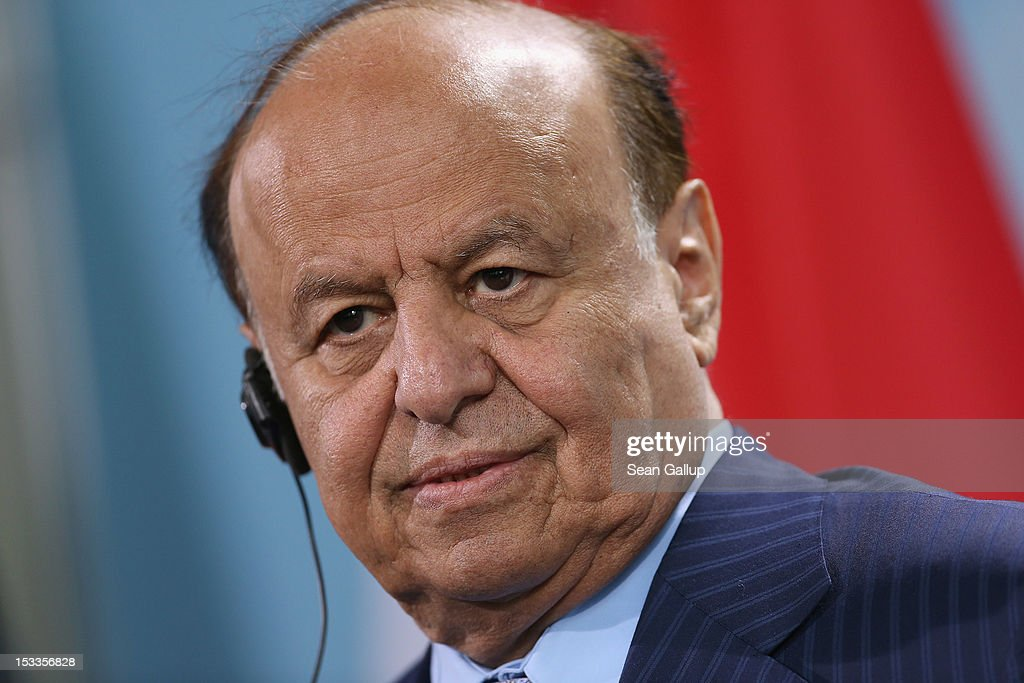 Abdrabuh Mansur Hadi President of the Republic of Yemen speaks with German Chancellor Angela Merkel to the media following talks at the Chancellery...