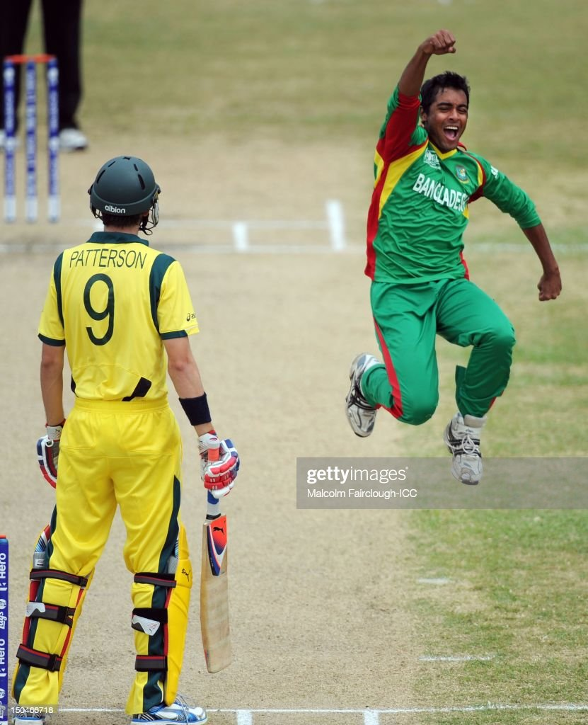Abdu Jayed celebrates the wicket of Kurtis Patterson during the ICC U19 Cricket World Cup 2012 Quarter Final match between Australia and Bangladesh at Endeavour Park on August 19, 2012 in Townsville, Australia.