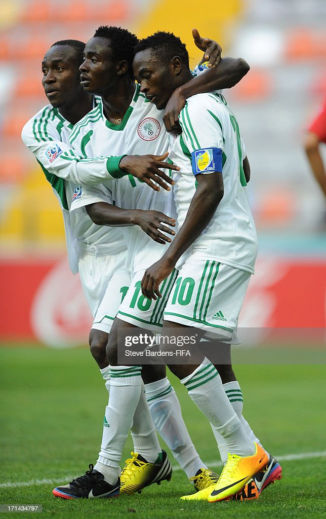 Abdul Ajagun of Nigeria (1st R) celebrates his goal with his team mates during the FIFA U-20 World Cup Group B match between Cuba and Nigeria at Kadir Has Stadium on June 24, 2013 in Kayseri, Turkey.