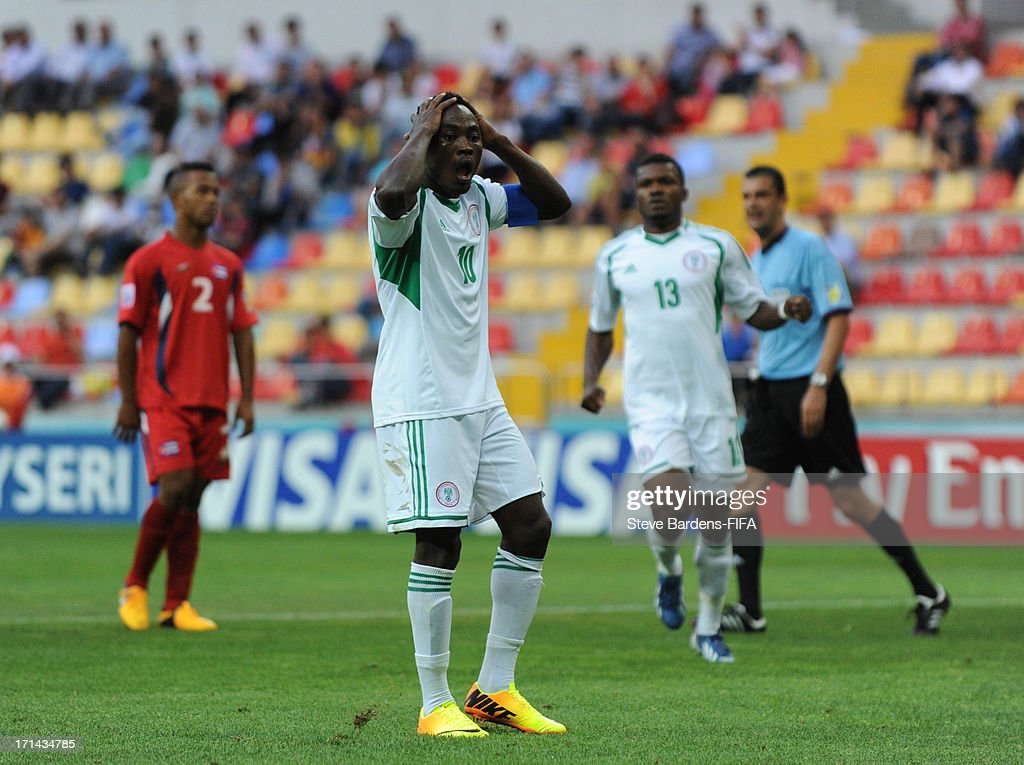 Abdul Ajagun of Nigeria reacts after missing from the penalty spot during the FIFA U-20 World Cup Group B match between Cuba and Nigeria at Kadir Has Stadium on June 24, 2013 in Kayseri, Turkey.