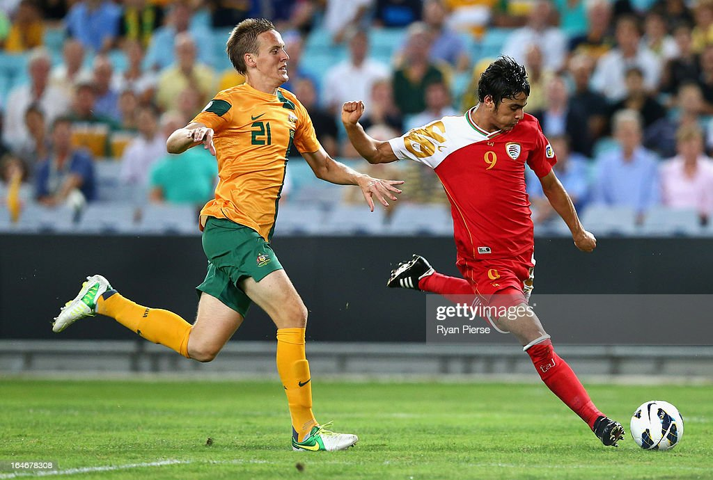Abdul Aziz of Oman scores his team's first goal past Michael Thwaite of the Socceroos of the Socceroos during the FIFA 2014 World Cup Qualifier match between the Australian Socceroos and Oman at ANZ Stadium on March 26, 2013 in Sydney, Australia.