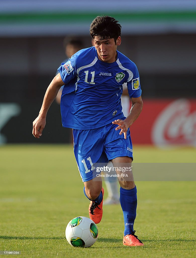 Abdul Aziz Yusupov of Uzbekistan in action during the FIFA U20 World Cup Group F match between Ukbekistan and Uruguay at Akdeniz University Stadium on June 29, 2013 in Antalya, Turkey.