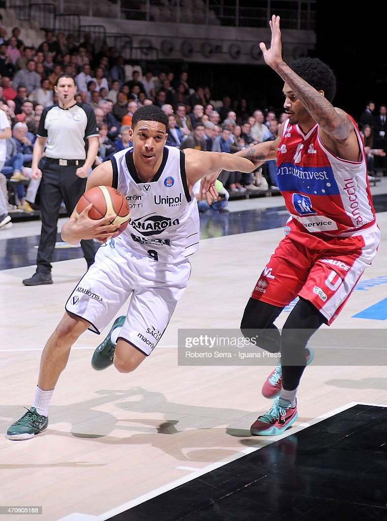 Abdul Gaddy of Granarolo competes with LaQuinton Ross of Consultinvest during the LegaBasket match between Virtus Granarolo Bologna and Consultinvest...