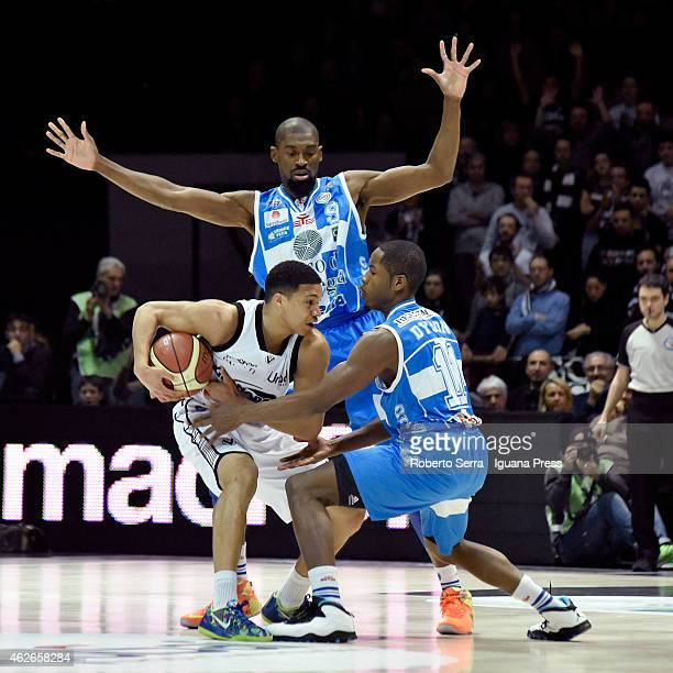 Abdul Gaddy of Granarolo competes with Shane Lawal and Jerome Dyson of Banco di Sardegna during the LegaBasket of Serie A match between Virtus...