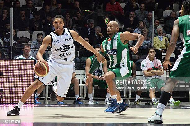 Abdul Gaddy of Granarolo competes with Sundiata Gaines of Sidigas during tha LegaBasket Serie A1 match between Virtus Granarolo Bologna vs Sidigas...