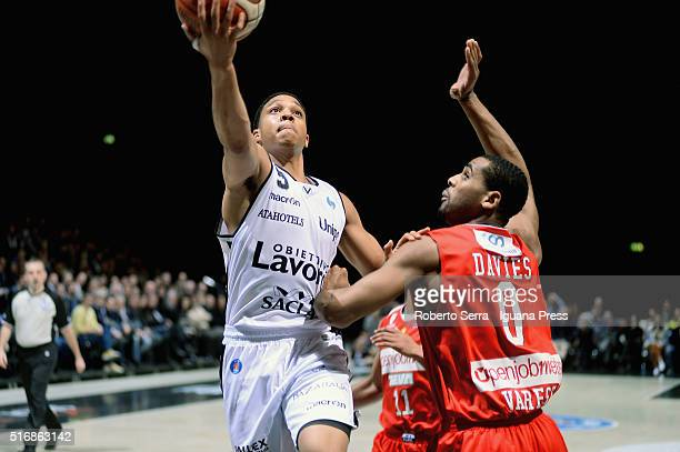 Abdul Gaddy of Obiettivo Lavoro competes with Brandon Davies of Openjobmetis during the LegaBasket match between Virtus Obiettivo Lavoro vs...