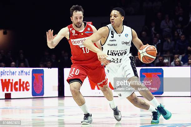 Abdul Gaddy of Obiettivo Lavoro competes with Daniele Cavaliero of Openjobmetis during the LegaBasket match between Virtus Obiettivo Lavoro vs...
