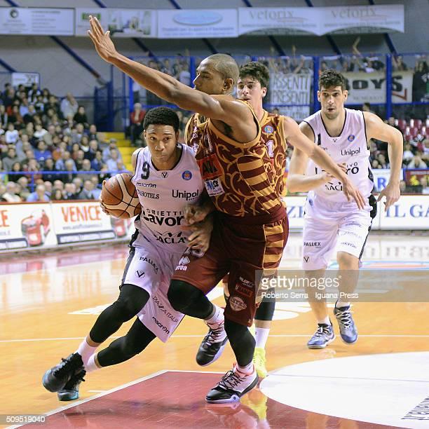 Abdul Gaddy of Obiettivo Lavoro competes with Josh Owens of Umana during the LegaBasket match between Reyer Umana Venezia and Virtus Obiettivo Lavoro...