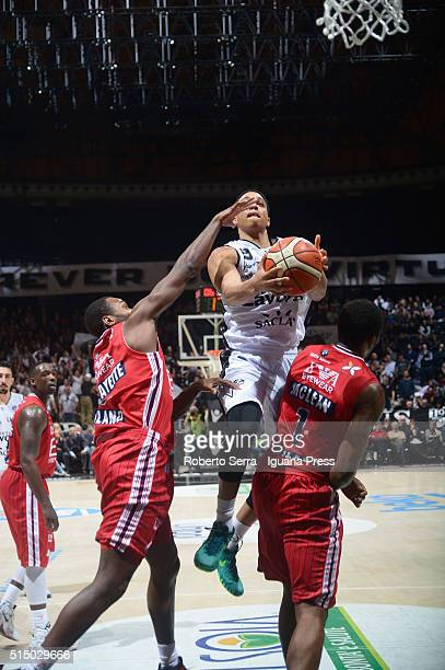 Abdul Gaddy of Obiettivo Lavoro competes with Oliver Lafayette and Jamel McLean of EA7 during the LegaBasket match between Virtus Obiettivo Lavoro...