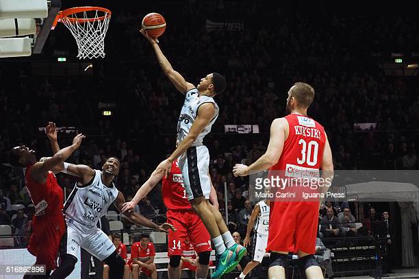 Abdul Gaddy of Obiettivo Lavoro competes with Rihard Kuksiks of Openjobmetis during the LegaBasket match between Virtus Obiettivo Lavoro vs...