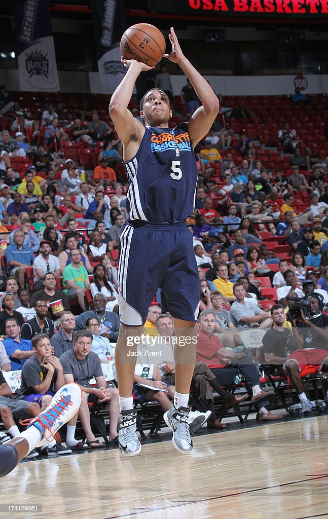 Abdul Gaddy #5 of the Charlotte Bobcats goes for a jump shot during NBA Summer League game between the D League Select and the Charlotte Bobcats on July 20, 2013 at the Thomas and Mack Center Center in Las Vegas, Nevada.