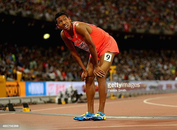 Abdul Hakim Sani Brown of Japan catches his breath after competing in the Men's 200 metres semifinal during day five of the 15th IAAF World Athletics...