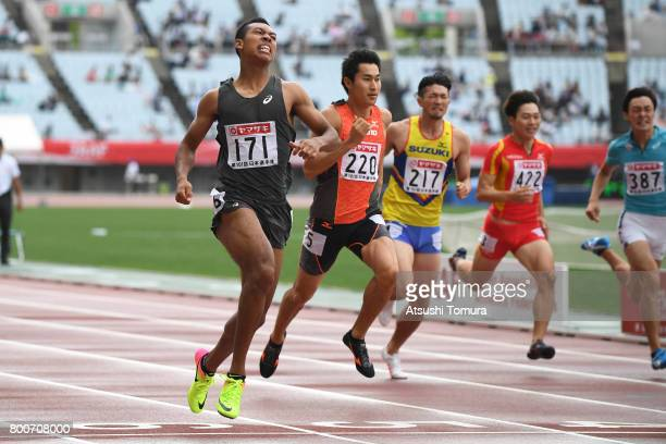 Abdul Hakim Sani Brown of Japan competes in the men 200m final during the 101st Japan National Championships at Yanmar Stadium Nagai on June 25 2017...
