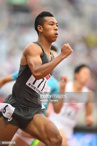 Abdul Hakim Sani Brown of Japan competes in the Men 200m heat 2 during the 101st Japan National Championships at Yanmar Stadium Nagai on June 24 2017...