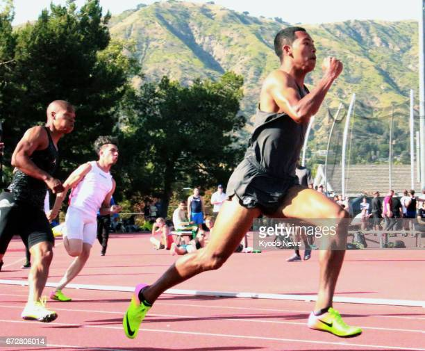 Abdul Hakim Sani Brown of Japan competes in the men's 200meter race at the Bryan Clay Invitational in Azusa California