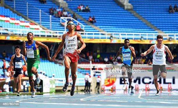 Abdul Hakim Sani Brown of Japan finishes first in heat one of the Boys 100 Meters on day one of the IAAF World Youth Championships Cali 2015 on July...