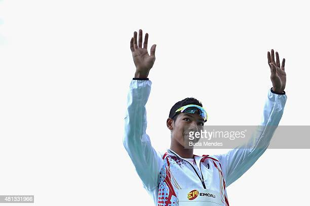 Abdul Hakim Sani Brown of Japan gold medal celebrates on the podium after winning the Boys 200 Meters Final on day five of the IAAF World Youth...