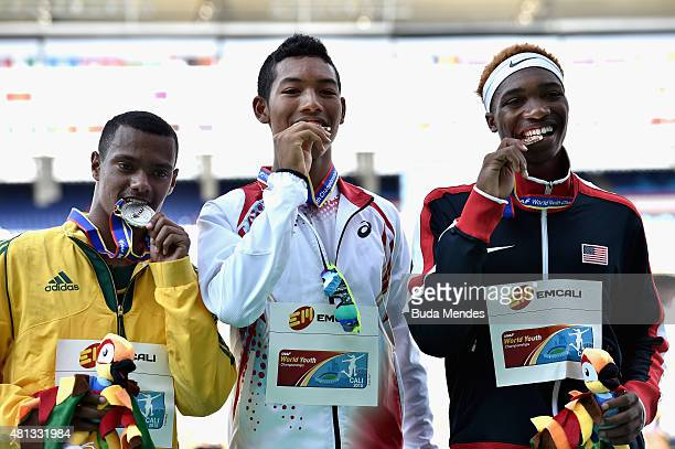 Abdul Hakim Sani Brown of Japan gold medal Kyle Appel of South Africa silver medal and Josephus Lyles of the USA bronze medal celebrate on the podium...