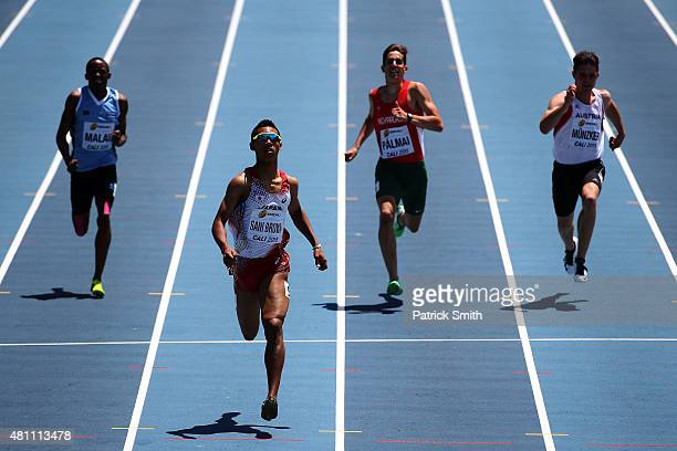 Abdul Hakim Sani Brown of Japan in action during round one of the Boys 200 Meters on day three of the IAAF World Youth Championships Cali 2015 on...