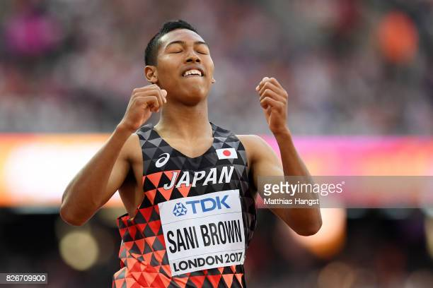 Abdul Hakim Sani Brown of Japan reacts during the competes in the Men's 100 metres semifinals during day two of the 16th IAAF World Athletics...