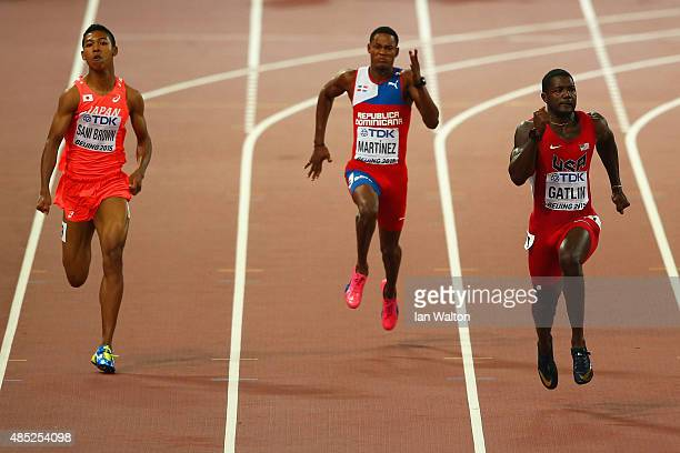 Abdul Hakim Sani Brown of Japan Yancarlos Martinez of the Dominican Republic and Justin Gatlin of the United States compete in the Men's 200 metres...