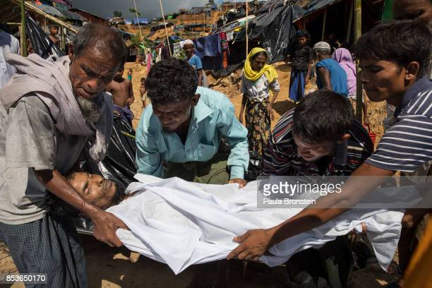 Abdul Khaleque died from Tuberculosis is carried for burial September 25 2017 in Thainkhali camp Cox's Bazar Bangladesh Over 429000 Rohingya refugees...