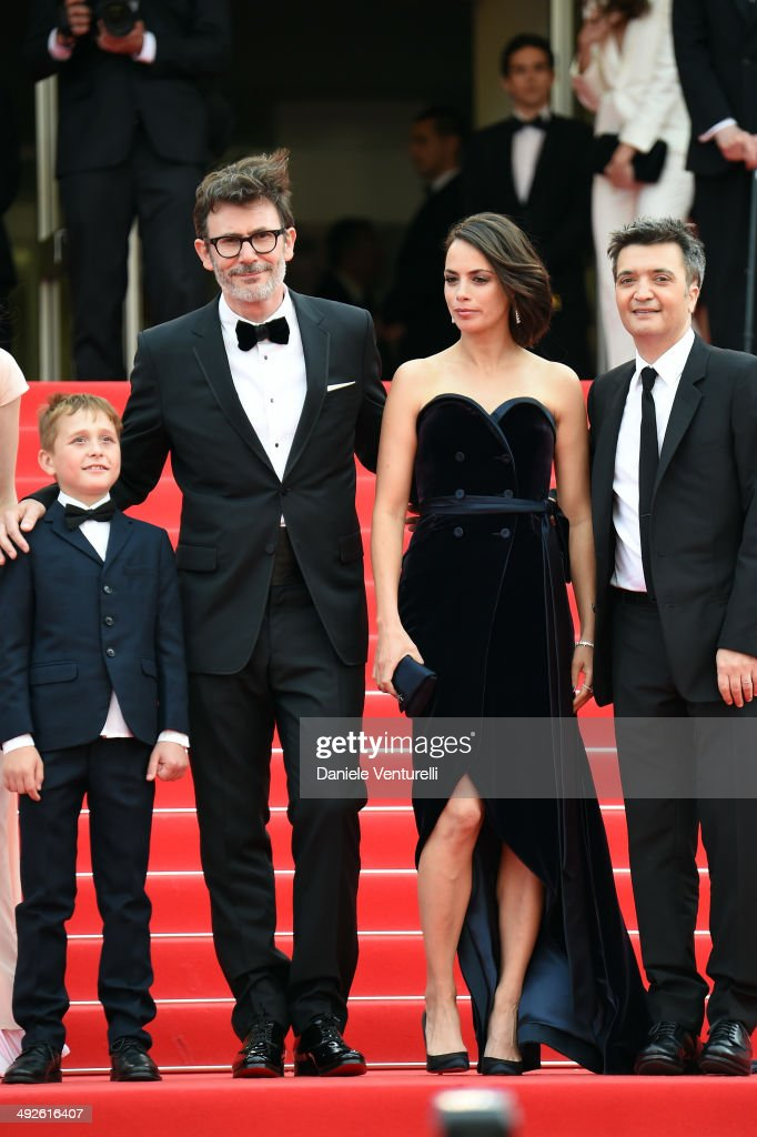 Abdul Khlim Mamamtsuiev Michel Hazanavicius Berenice Bejo and Thomas Langmann attend 'The Search' Premiere at the 67th Annual Cannes Film Festival on...