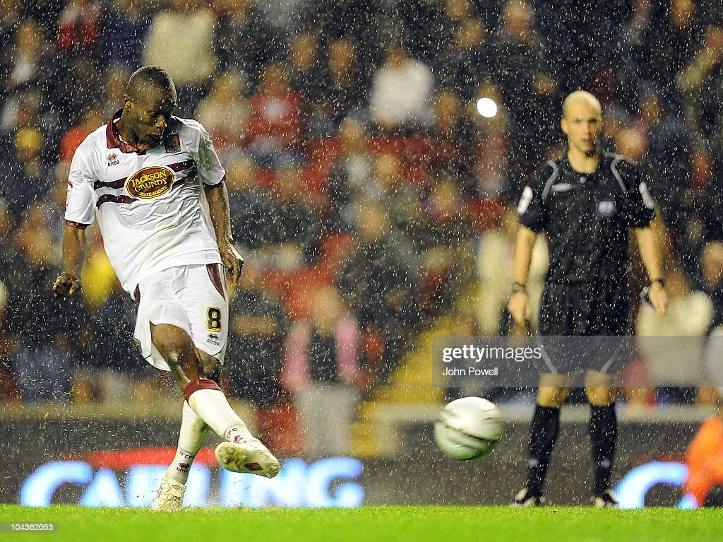Abdul Osman of Northampton Town scores the winning penalty during the Carling Cup 3rd round game between Liverpool and Northampton Town at Anfield on September 22, 2010 in Liverpool, England. (Photo by John Powell/Liverpool FC via Getty Images)tt