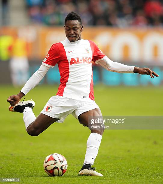 Abdul Rahman Baba of FC Augsburg in action during the Bundesliga match between FC Augsburg and FC Schalke 04 at SGL Arena on April 5 2015 in Augsburg...