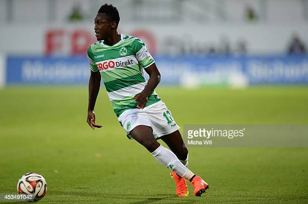 Abdul Rahman Baba of Fuerth runs with the ball during the Bundesliga match between Greuther Fuerth and 1 FC Nuernberg at TrolliArena on August 11...