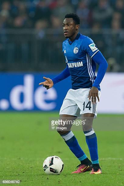 Abdul Rahman Baba of Schalke in action during the Bundesliga match between FC Schalke 04 and SC Freiburg at VeltinsArena on December 17 2016 in...