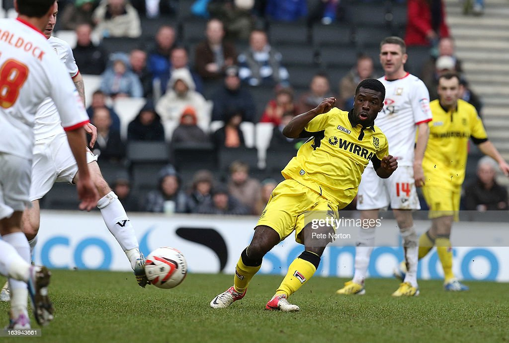 Abdulai Bell-Baggie of Tranmere Rovers in action during the npower League One match between MK Dons and Tranmere Rovers at Stadium MK on March 16, 2013 in Milton Keynes, England.