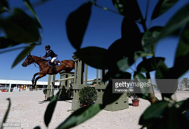 Abdulla Hohammed Al Marri of UAE rides Narchissist FBH during the Dubai Show Jumping Championships at Dubai Equestrian Club on January 26 2017 in...